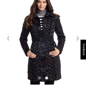 Black satin puffer jacket